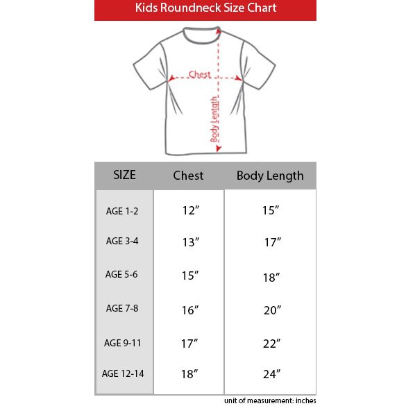 kids t shirt size chart