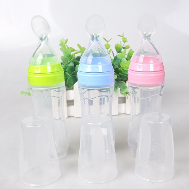 Infant Baby Kids Silicone Feeding With Spoon Feeder Food Rice Cereal Bottle New