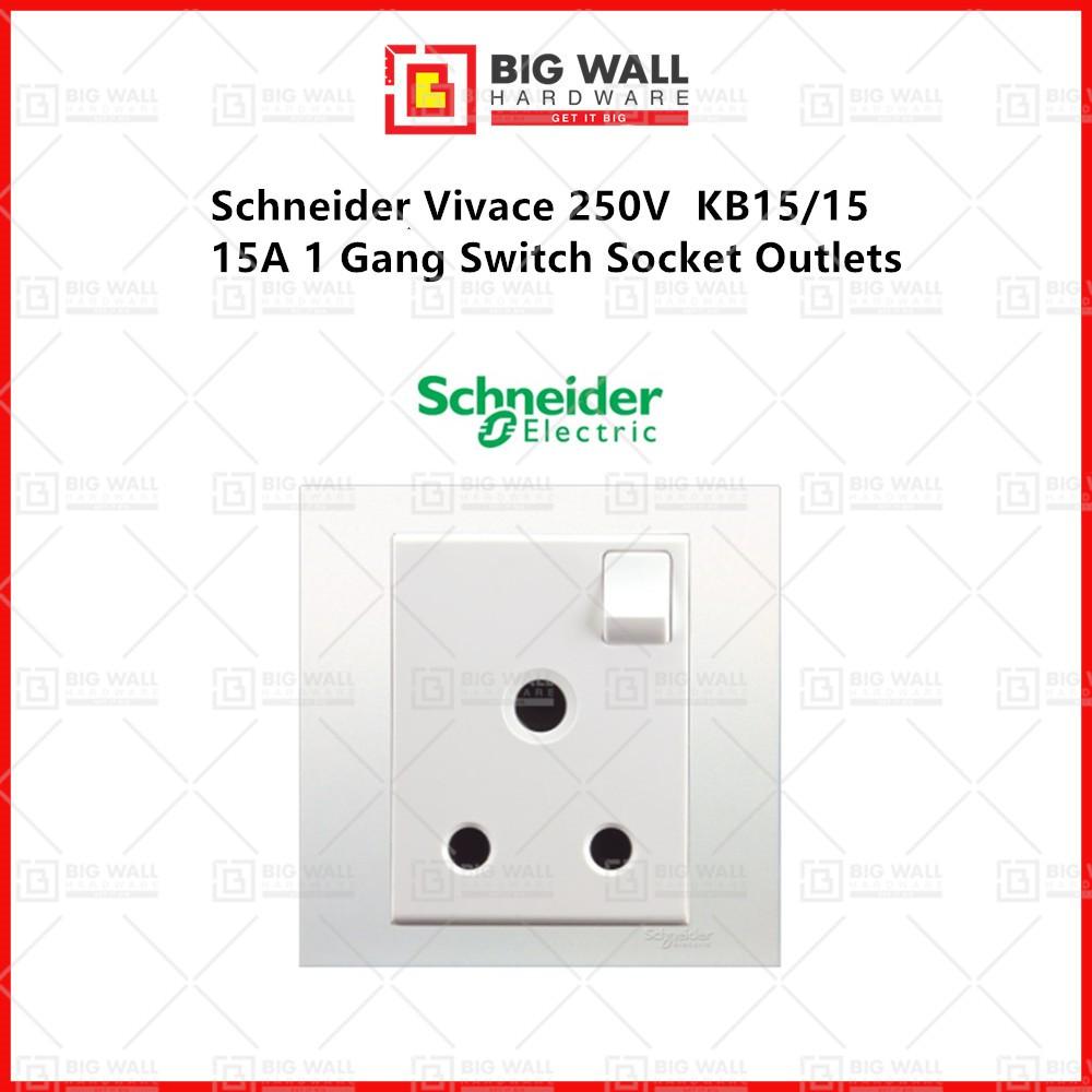 Schneider Electric Vivace KB15/15 WE G11 15A 250V 1 Gang Switched Socket Big Wall Hardware