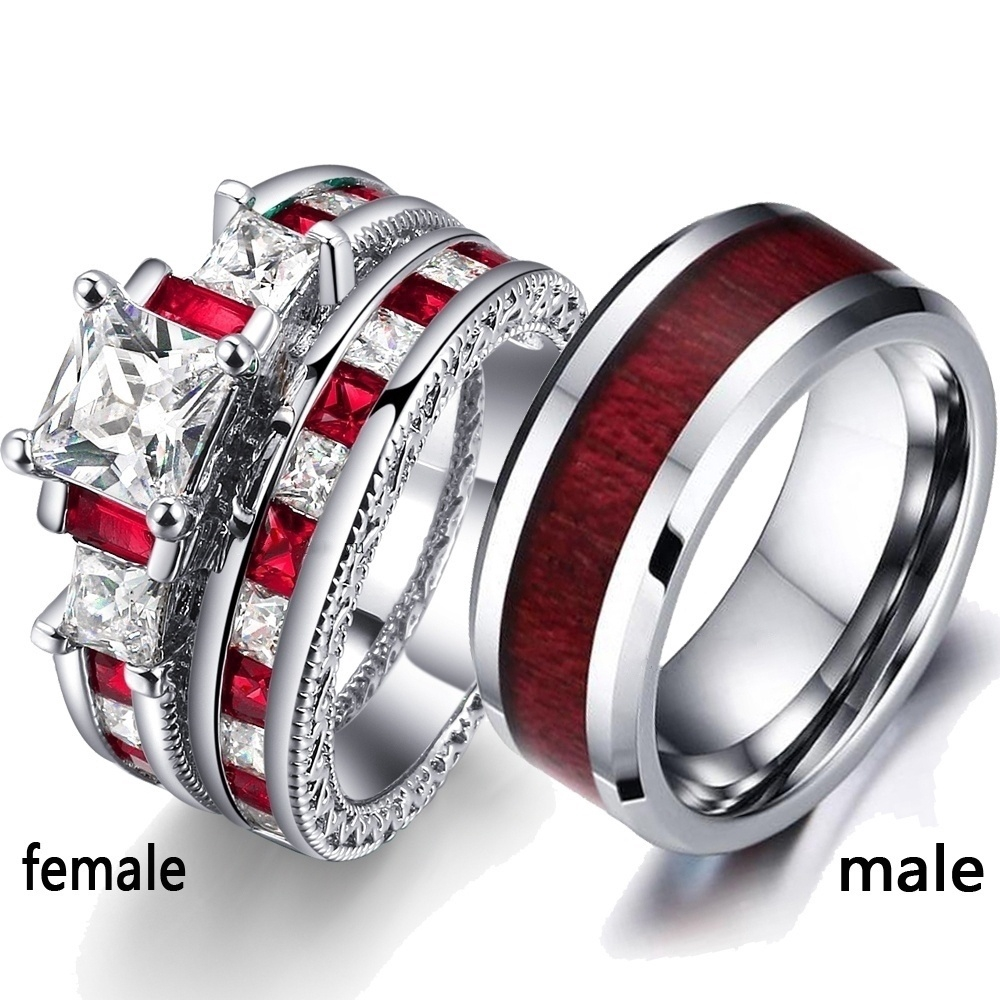 ff5f429a24 Couple Rings - Men's 316L Stainless Steel Wood Pattern Ring and Women's 925  Sterling Silver Filled Diamond Ruby Ring Set