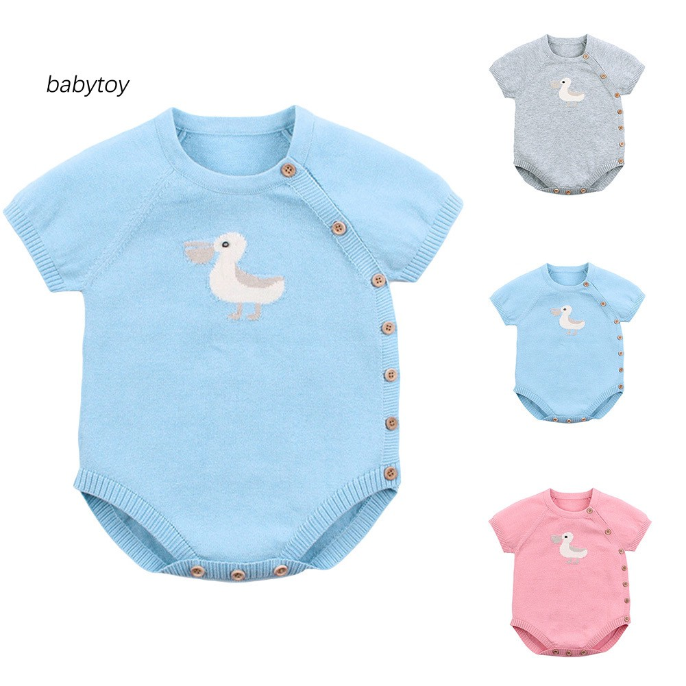 Grey Duck Infant Boys Girls Jumpsuit Short-Sleeve Romper Bodysuit
