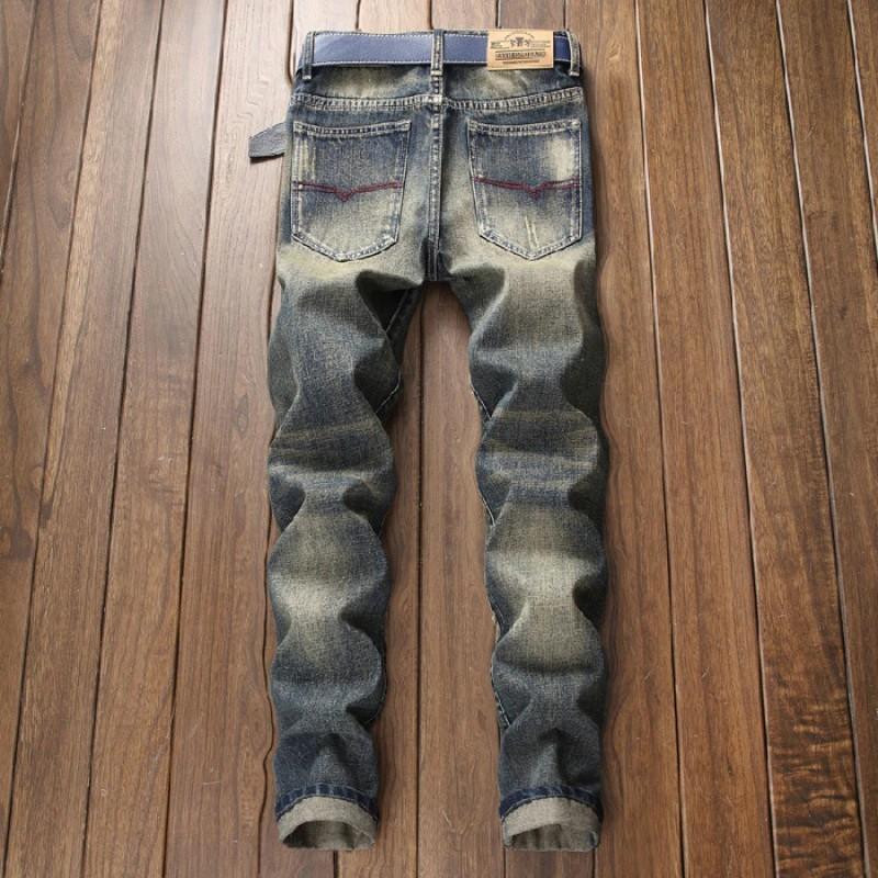 Men S Printed Denim Cotton Vintage Wash Hip Hop Work Trousers Jeans Pants Pantalones Hombre Jeans Para Hombre Shopee Malaysia