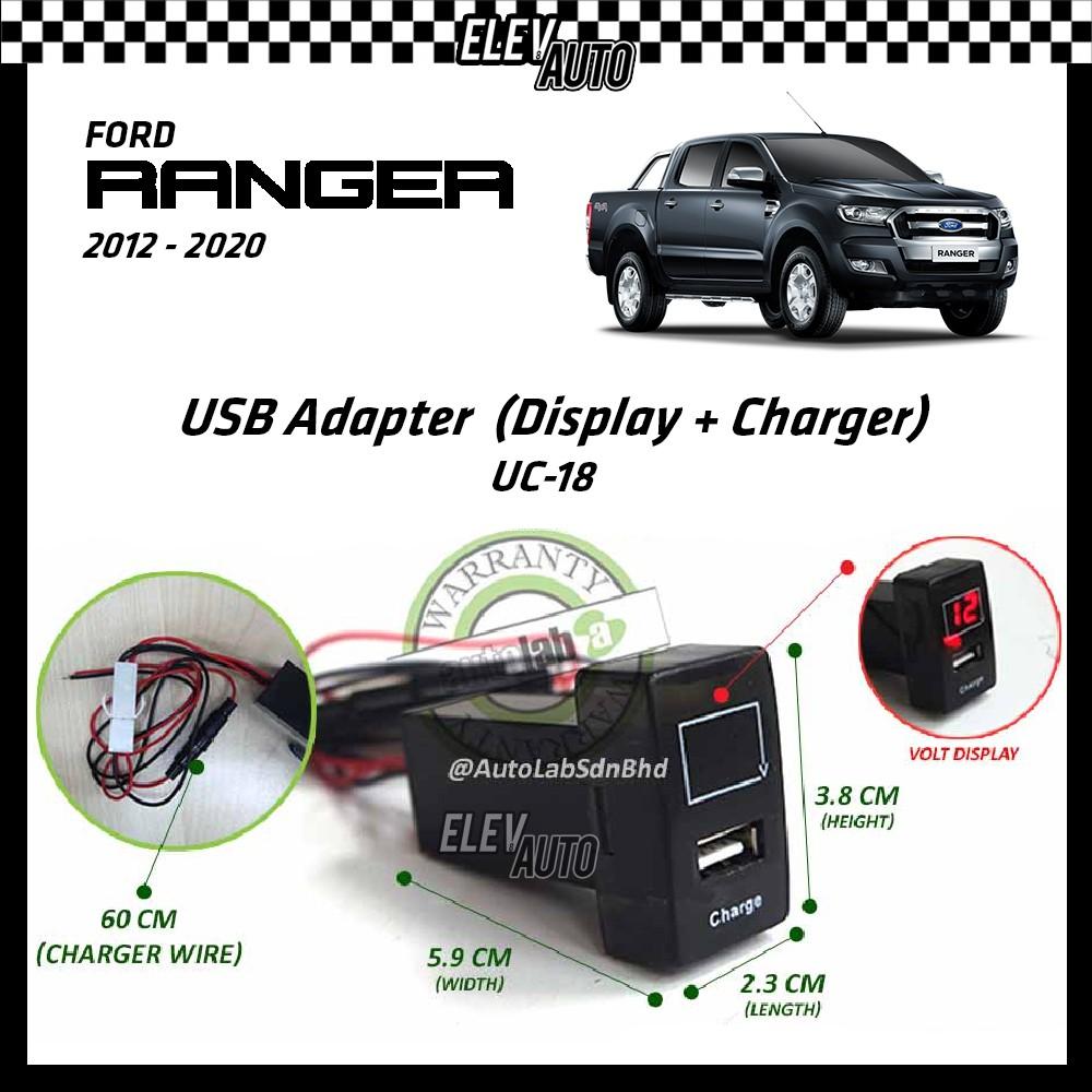 Ford Ranger 2012-2021 USB Adaptor Volt Display + Charger (UC-18)