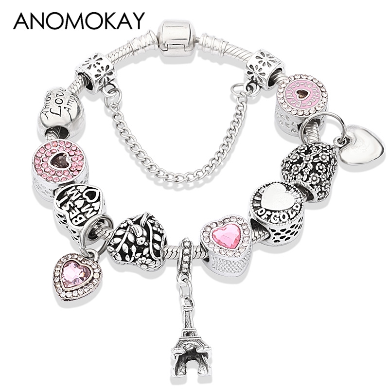 NEW Pink Silver Sister Love Heart Charm Pendant Women Fashion Bracelet Necklace
