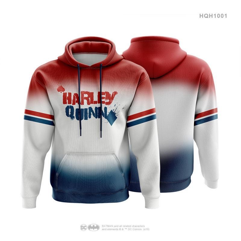 Harley Quinn Sweater Hoody Thick Polyester Sweater with Hooded Jacket