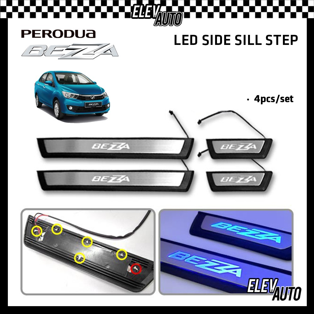 LED Side Sill Step Stainless Steel Perodua Bezza