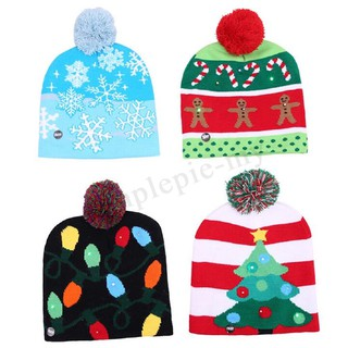99378a52 ♛❀Christmas LED Light Winter Warm Beanie Cap Santa Claus Snowflake ...