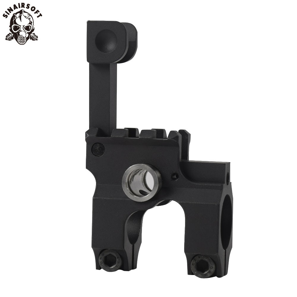 Clamp-On Gas Block with Folding Front Sight CNC Aluminum Machined Iron Sight
