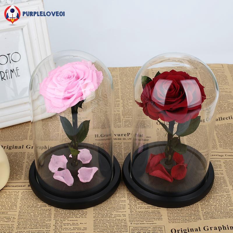6eec8deadc76d Eternal Flower Romantic Glass Fresh Flower Valentine'S Day Rose Glass Cover