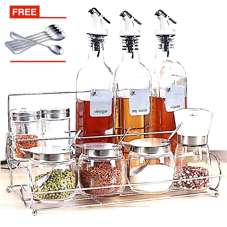 2 Tier Layer Spice Rack Glass Bottle Organiser Salt Spices Storage Sauces Jar Condiment Canister Black Pepper Grinder