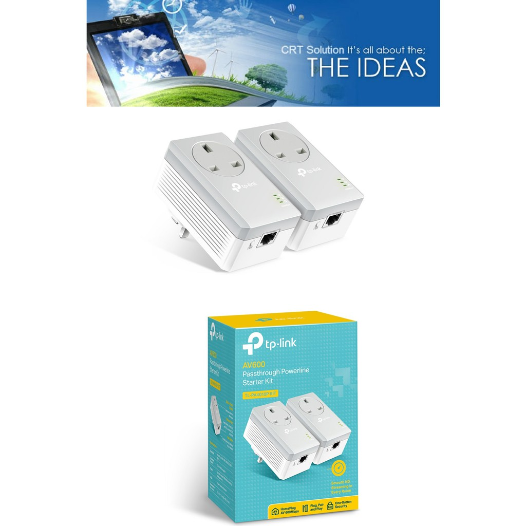 TP-LINK Passthrough Powerline Starter Kit AV600 (TL-PA4010P KIT)