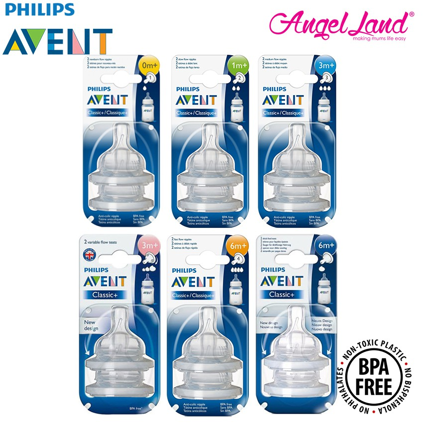 TEATS PACK REDUCE COLIC BPA FREE PHILIPS AVENT CLASSIC 2 SLOW FLOW 1 MONTHS