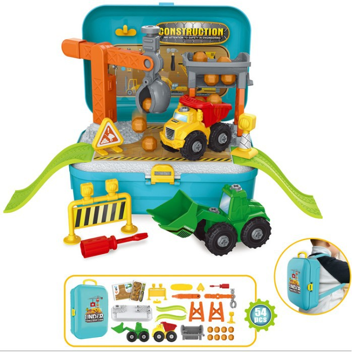 Building Construction Children Realistic Simulation Pretend Play with Backpack Set mainan budak