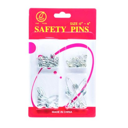 """Safety Pin Diaper Pin Metal Silver Sewing Pins Clothing Clips 4 Size 60 PCS (Size 0"""" - 4"""")"""