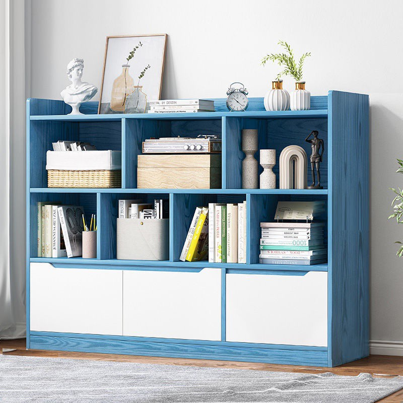 GDeal Home Student Bookshelf Wooden Storage Bookcase With Invisible Handle Drawer