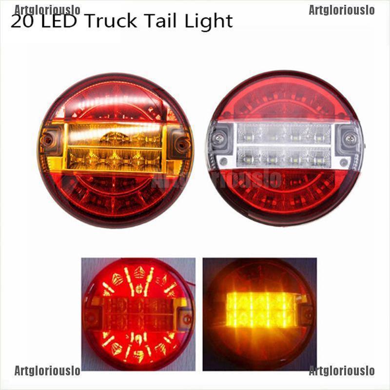 12V 24 LED Round Car Rear Tail Light Turn Signal Reversing Lamp for Trunk Tailer COD