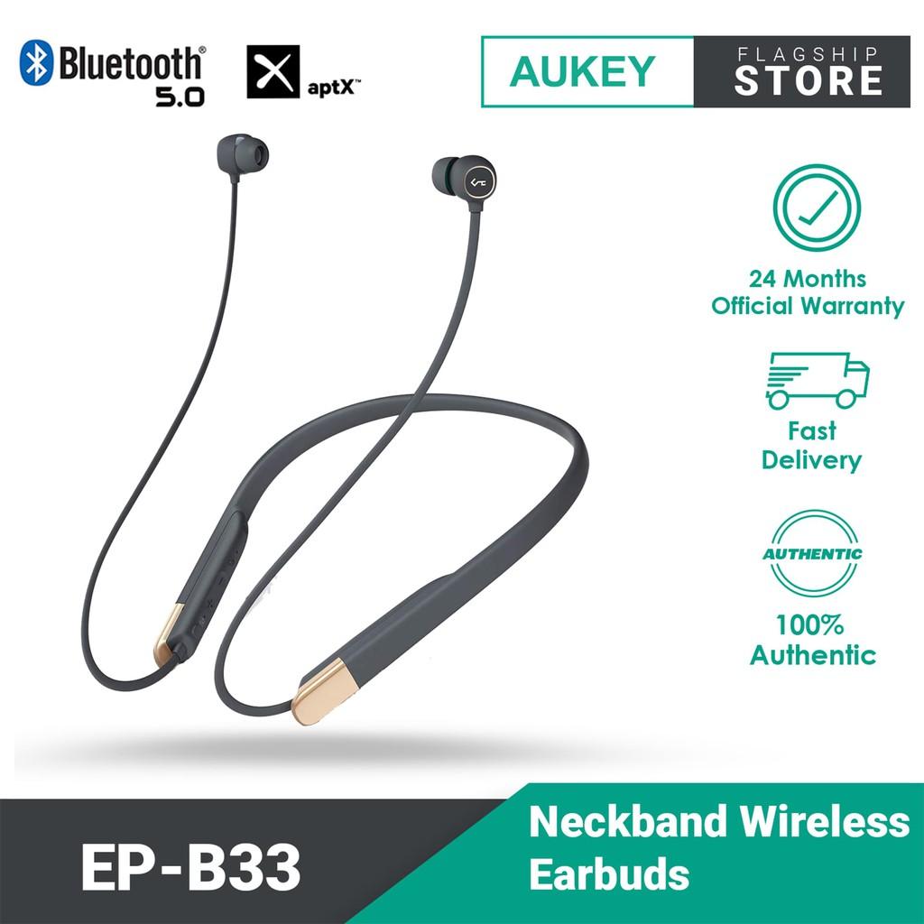AUKEY EP-B33 Bluetooth 5.0 Wireless Headphones with 3 EQ Modes, aptX Low Latency, USB-C Fast Charge, IPX6 Sweatproof