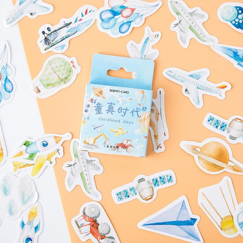 46Pcs//Box Kawaii Stationery Stickers Journal Stickers Kids DIY Diary Suppl X