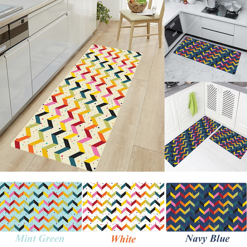 Super Soft Non Slip Colorful Stripes And Dots Kitchen Runner Bathroom Floor Mats Laundry Room Rugs Hallway Runner Shopee Malaysia
