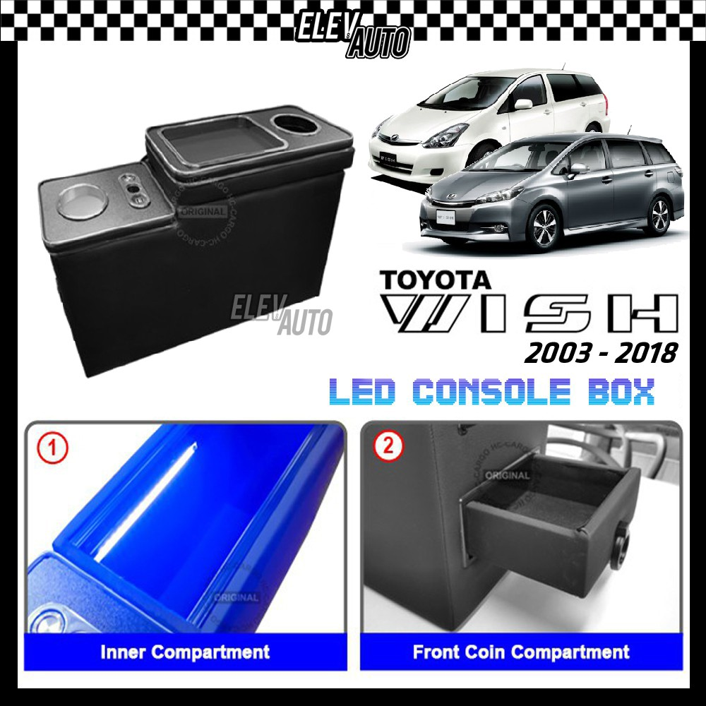 Toyota Wish 2003-2018 Console Box with Atmosphere Light USB Port Cup Holder