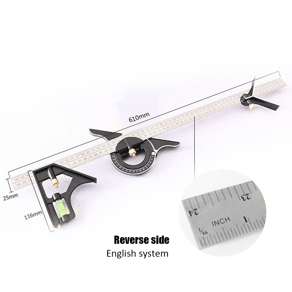 300mm Combination Square Angle Ruler Multi-functional Measurings Stainless Steel