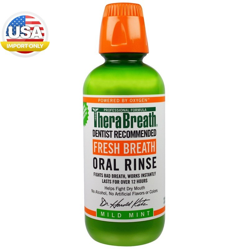 ของแท้พร้อมส่ง__TheraBreath, Fresh Breath, Oral Rinse, Mild Mint, 16 fl oz (47