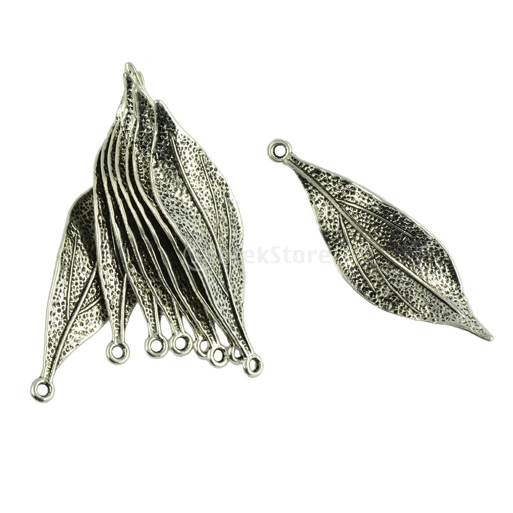 2x Tibetan Silver Leaf Feather Pendants For DIY Jewellery Making Finding