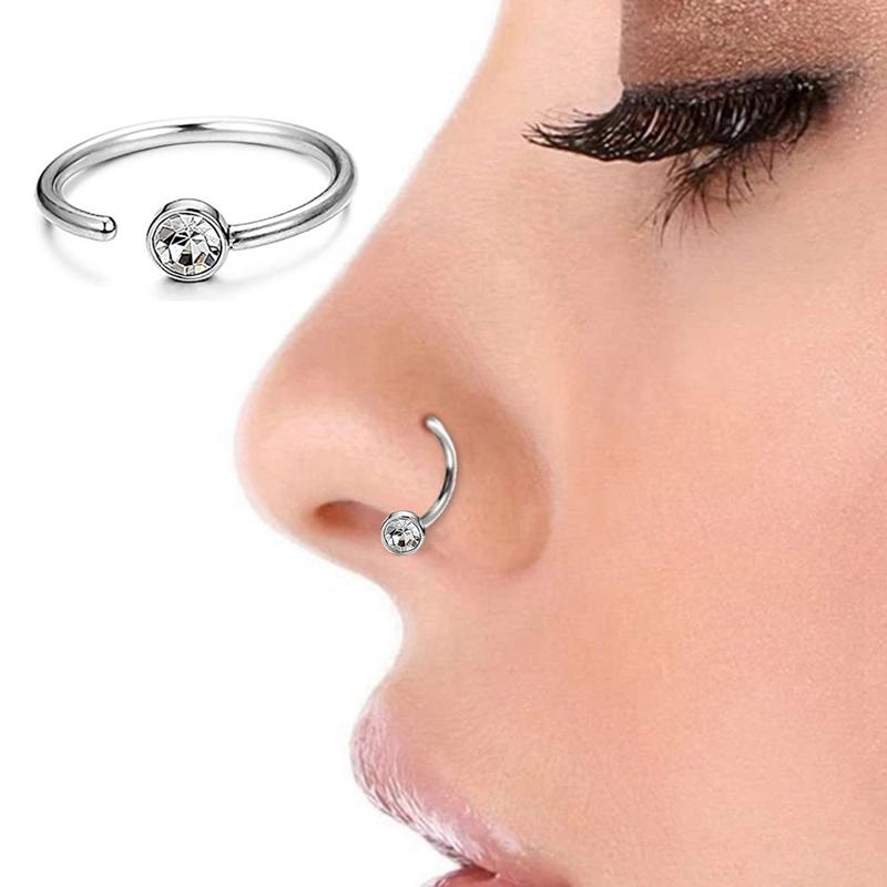 Nose Ring Hoop Cartilage Ring 18 Gauge 316l Steel Cz Gem Earring