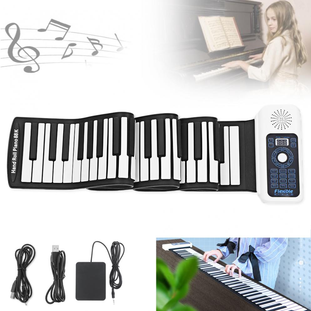 88 Keys USB MIDI Roll Up Piano Silicone Flexible Keyboard