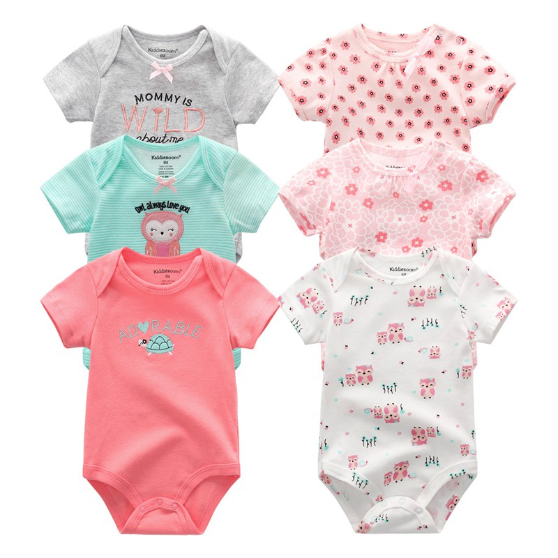 Transer Newborn Baby Girls Muticolor Printed Romper Bodysuits One-Piece Fly Sleeve Outfits for Infant 3M-24M