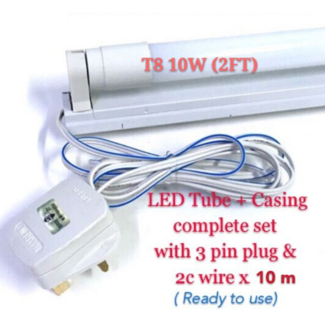 T8 10w Led Tube Casing Complete Set With 3 Pin Plug 2c Wire X10m Shopee Malaysia