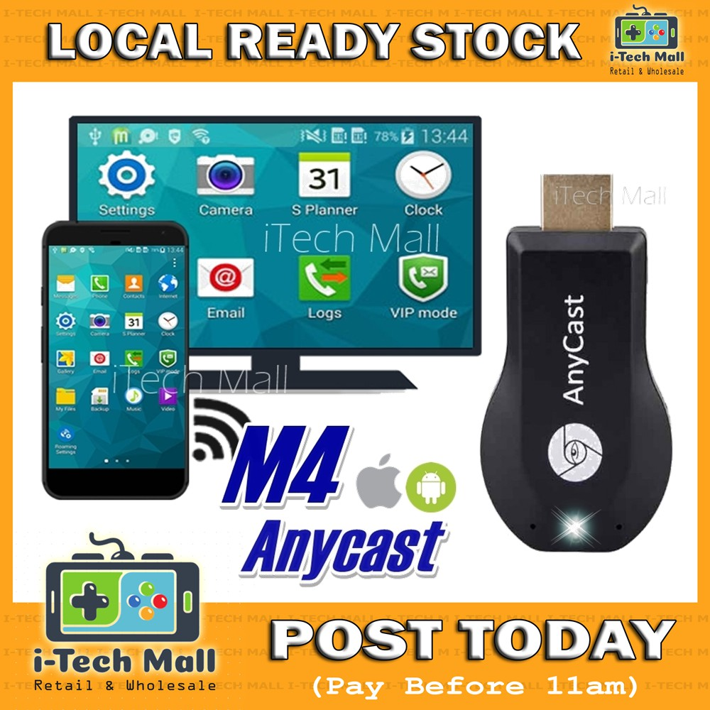 Anycast M4 Plus Wireless Display Phone Screen to TV Display Miracast  Mirroring Dongle Ezmira