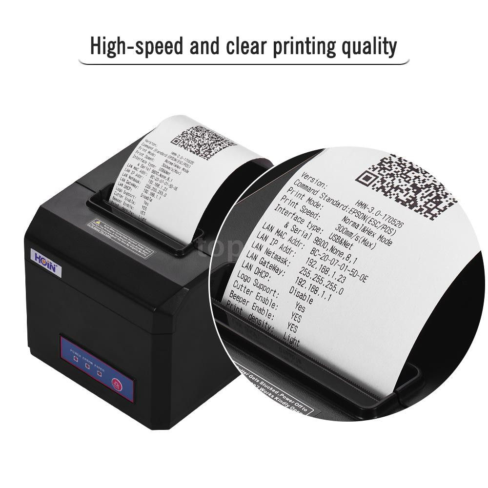 HOIN 80mm Thermal Receipt Printer Support 58mm/80mm Paper Width with Auto  Cutter USB Serial Ethernet Interface Comp