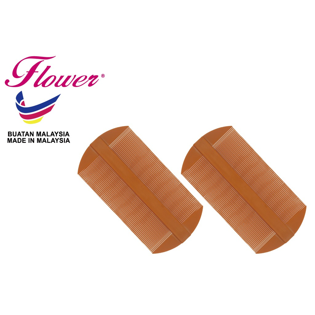 Flower Brush (Sikat Kutu) Double Sided Nit Fine Tooth Head Lice Hair Combs-2Pcs (Sikat/Berus Rambut/Balung/Sisir)