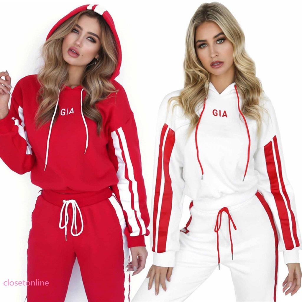83df8de8db CL✿✿ 2Pcs Womens Fashion Tracksuit Set Hoodies + Sweatpants Sports Gym  Jogger
