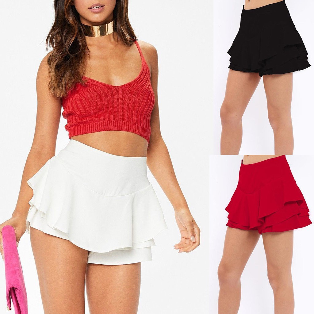 Wholesale Joblot Frilled Skort Ruffled Layered High Waisted Celebrity Mini Skirt