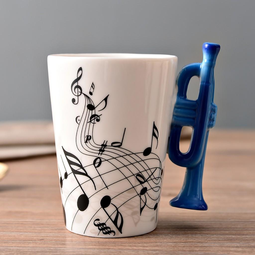Coffee Mug Design Ceramic Creative Musical Cup Notes Instruments Milk dCQxsthrB
