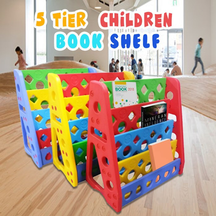 [Ready Stock] 5 Tier Colourful Children Book Shelf Furniture / Rak Buku Kanak-kanak