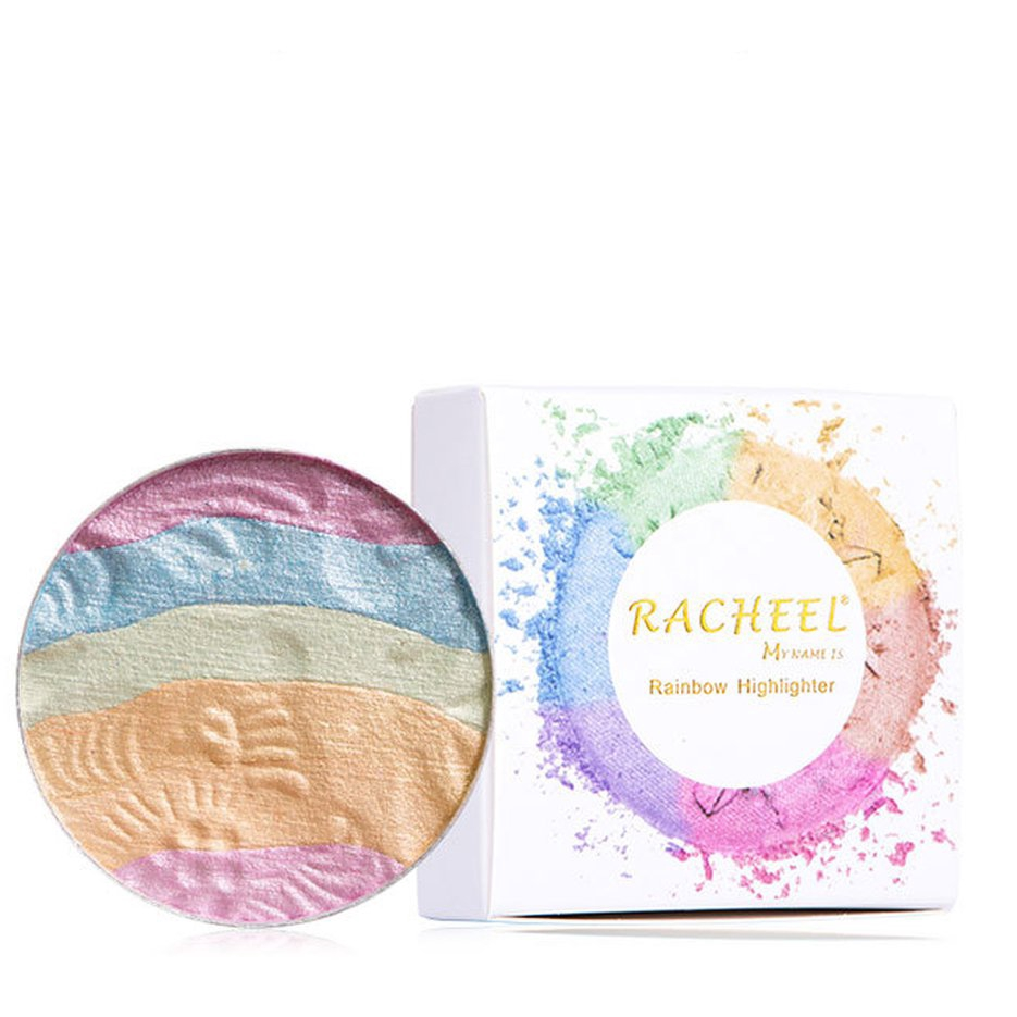 ✔Ruiqiu 6-color rainbow high-gloss eye shadow blush repair capacity powder tray