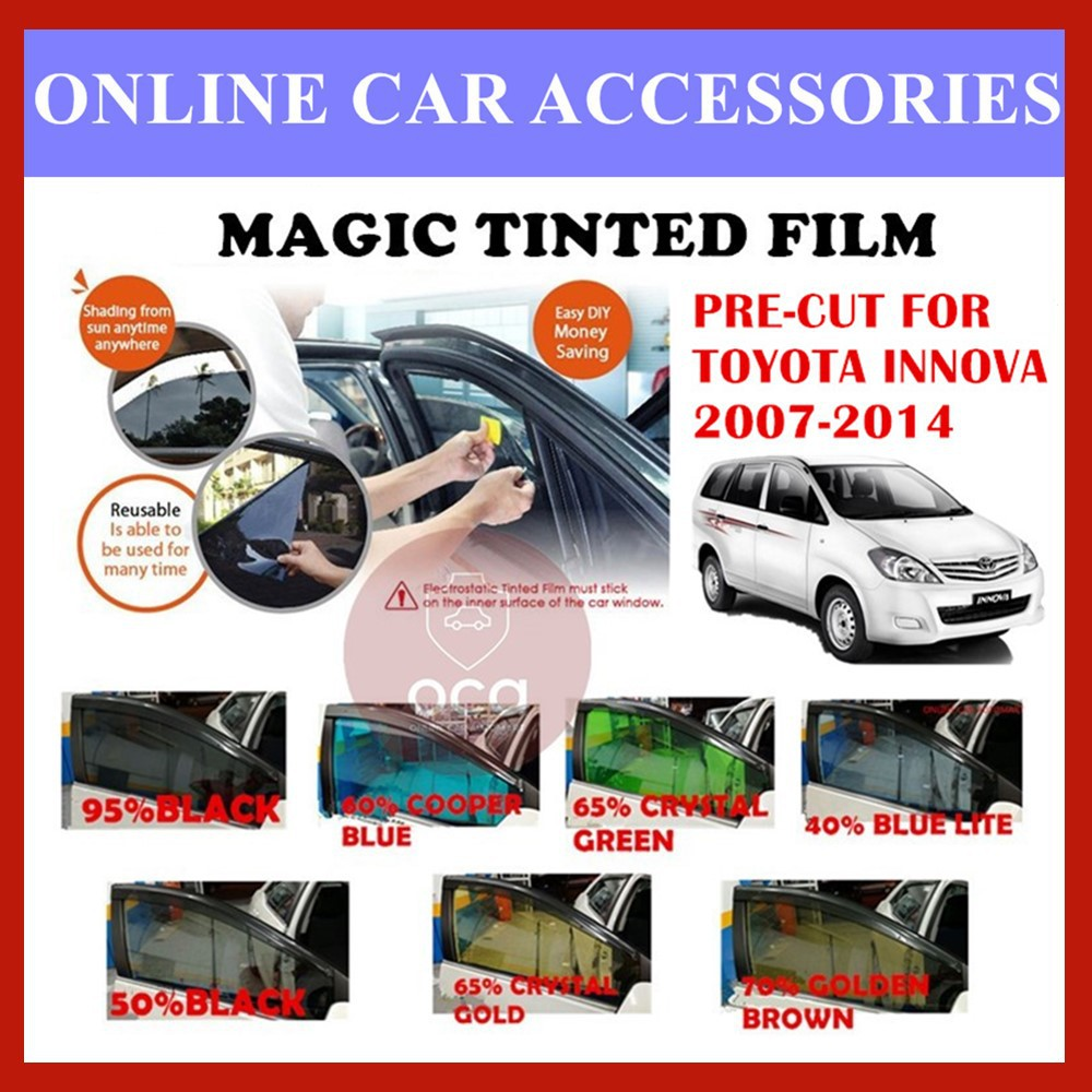 Toyota Innova 2007-2014  - Pre-Cut Shape Magic Tinted Solar Tinted (4 Windows & 2 Triangle /4 Windows+Rear)