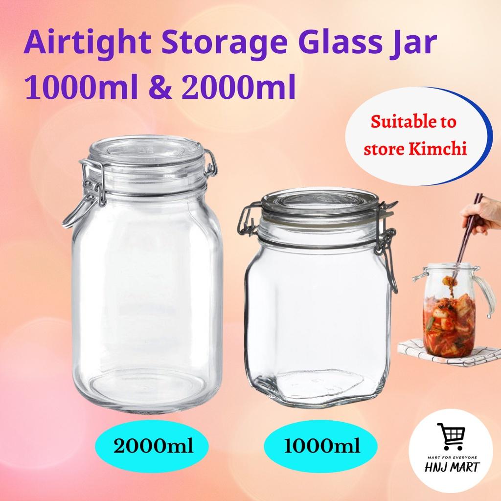 Airtight Glass Jar 1000ml 2000ml Multipurpose Storage Container Kitchen Jar Food Storage Botol Balang Kaca Kedap Udara