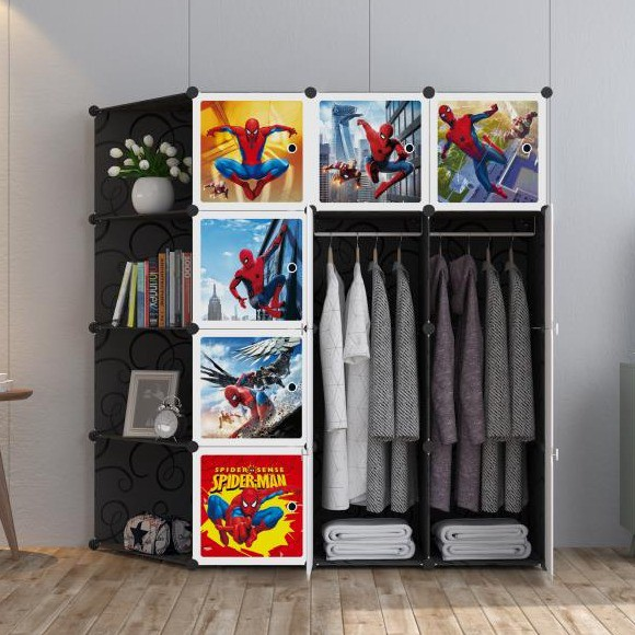 MALAYSIA: ALMARI SPIDERMAN Black 12 cube C DIY Multipurpose Portable Wardrobe Cabinet Clothes Storage Organizer