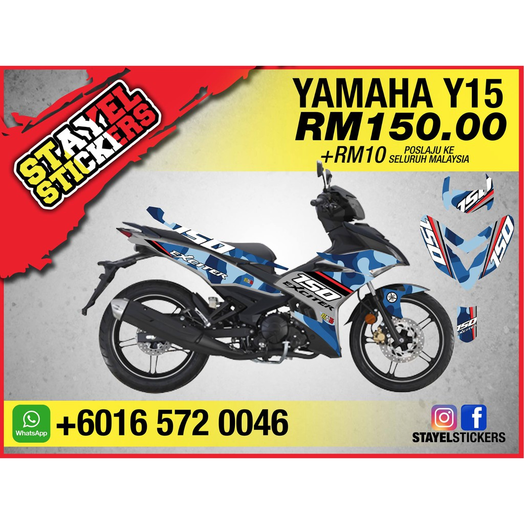 Y15 yamaha factory racing livery 2019 custom stickers shopee malaysia