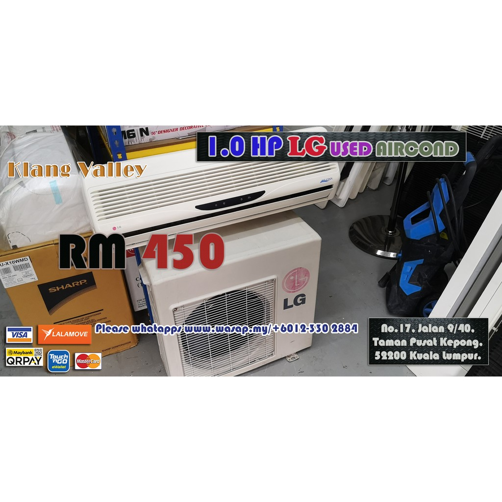 1.0HP Wall Type LG Used Aircond / Second-hand / Klang Valley / Non-inverter type / R22