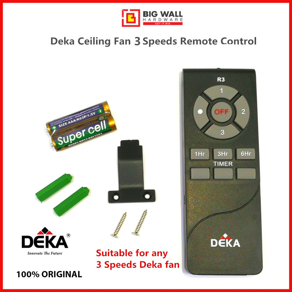 Original Deka Ceiling Fan R3 Remote Control 3 Speeds Free 2pcs AAA Batteries & Holder *Alat Kawalan Jauh Kipas