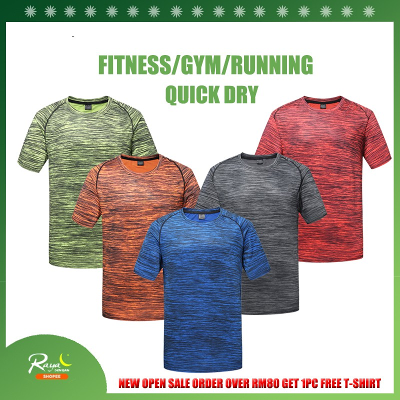 df906033681cb Plus Size L-5XL Sport Running Quick Dry T-shirt Solid Men's Fitness Gym t  shirts