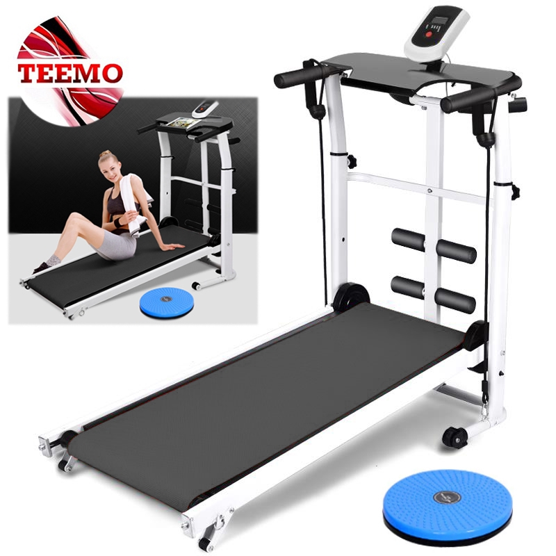 TEEMO Slimming Mini Walking Machine Home Exercise Fitness Gym Mini Foldable Running Manual Treadmill With Sit Up Stand
