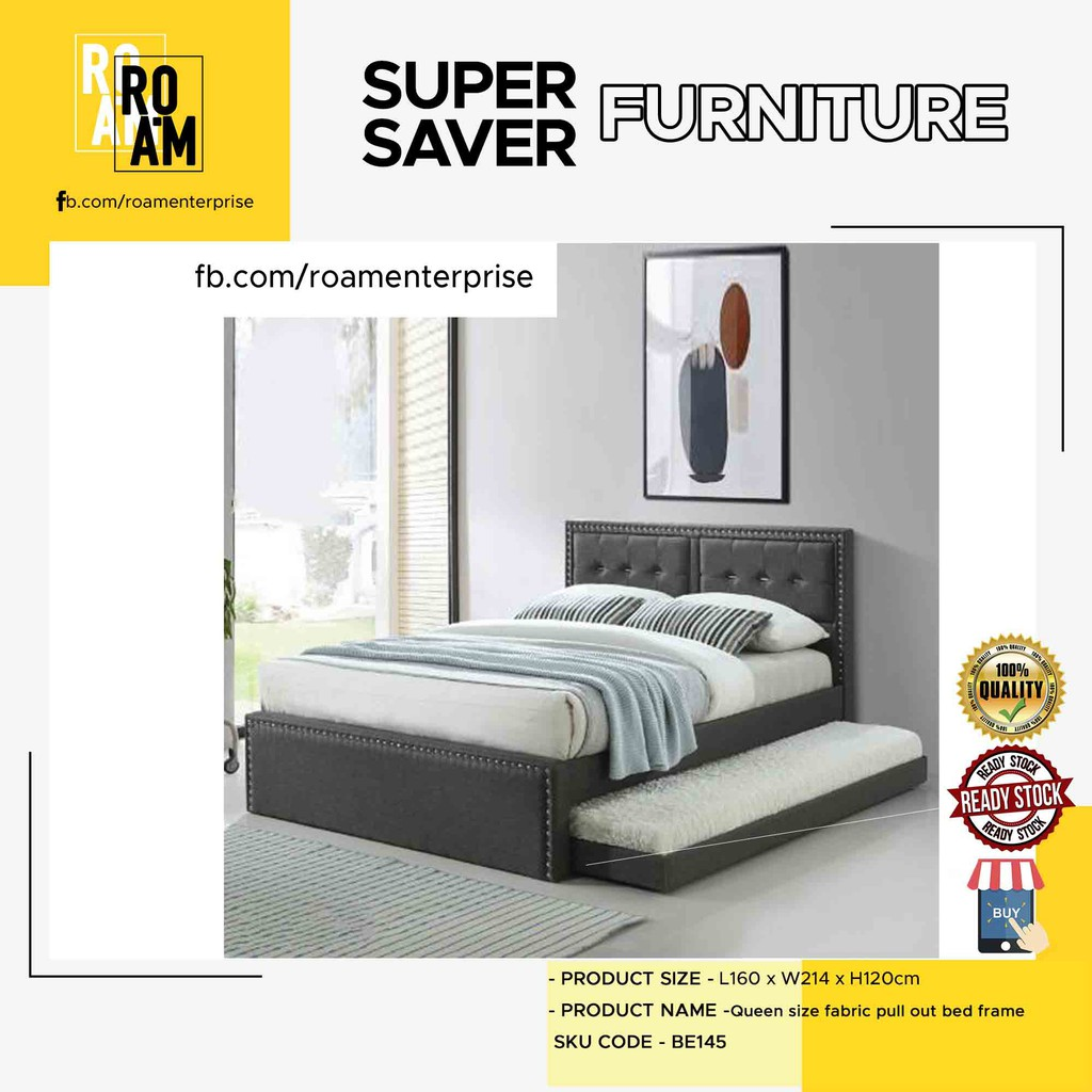 Roam RALPHIE queen size fabric pull out bed frame  Grey Color