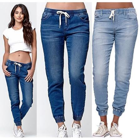 latest selection of 2019 search for latest enjoy free shipping New Fashion Women's Casual Stretch Denim Jogger Pants Ladies Drawstring  Elastic Waist Jeans - 3 Colors