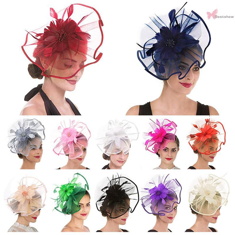Hat Feather Mesh Net Veil Party Hat Flower Hat with Clip and Hairband for Women